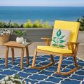 Brixton Outdoor Acacia Wood Rocking Chair with Side Table, Teak and Yellow
