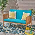 Brendon Outdoor Water Resistant Loveseat Cushion Set, Teal