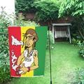 MYPOP Man On A Jamaican Flag Garden Flag For Patio, Lawn and Garden 28x40 inches