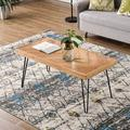 """Modern Coffee Table, 43.3"""" Wood Coffee Table with Metal Hairpin Legs, Old elm Cocktail Table with Chevron Pattern, Sturdy Rectangular Center Table Side Table for Living Room, Easy Assembly,L2151"""