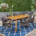 Robert Outdoor 7 Piece Acacia Wood Dining Set with Stacking Wicker Chairs,