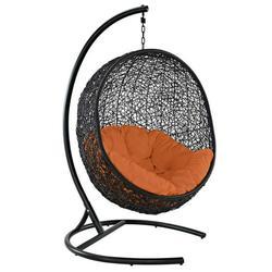 Modern Contemporary Urban Design Outdoor Patio Balcony Garden Furniture Swing Lounge Chair, Rattan Wicker, Orange
