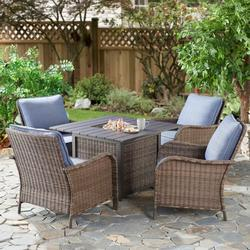 Better Homes & Gardens Brookhaven Outdoor Wicker Lounge Chairs with Blue Cushions, Set of 4