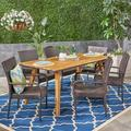 Tristen Outdoor 7 Piece Acacia Wood Dining Set with Stacking Wicker Chairs, Multi-Brown, Teak