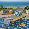 Killian Outdoor Mesh and Aluminum Chaise Lounge with Side Table, Gray