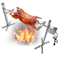 Stainless Steel Large Charcoal Grill 60 Ib Capacity Campfire Rotisserie Spit Roaster Rod BBQ Pig Chicken 15W Motor Camping Kit Grill Cookware Outdoor Supplies