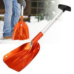 Tebru Telescopic Snow Shovel, Winter Snow Shovel,Aluminum Alloy Detachable Telescopic Winter Snow Ice Shovel Outdoor Kit Tool Orange