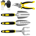 Peroptimist Garden Tools Set 5 Piece Floral Heavy Duty Gardening Tools with Pruning Shears / Hand Trowel / Transplanter / Hand Rake / Gardening Gloves,Durable and Delicate Garden Gift