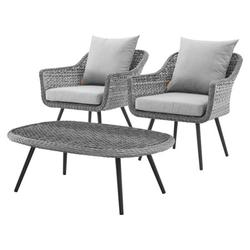 Contemporary Modern Urban Designer Outdoor Patio Balcony Garden Furniture Lounge Chair and Coffee Table Set, Aluminum Fabric Wicker Rattan, Grey Gray