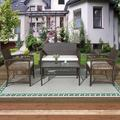 Outdoor Patio Furniture Sets, 4 Piece Brown Wicker Outdoor Porch Conversation Sets, 2pcs Arm Chairs, 1pc Loveseat&Coffee Table, Patio Bar Set, Dining Set for Backyard Lawn Porch Poolside Garden, W7755