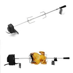4W Stainless Steel Rotisserie BBQ Universal Grills Rotisserie Kit BBQ Grill Roaster Camping Charcoal Spit Rod Kits with Electric Motor, Spit Rod, Handle, Stainless Steel Meat Forks