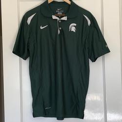 Nike Shirts | Go Green!!! Mens Msu Nike Golf Shirt | Color: Green/White | Size: M