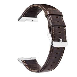 SOATUTO For Fitbit Ionic Watch Bands , Genuine Leather Wristband Bracelet Watch Band Strap with Stainless Steel Buckle Clasp for Fitbit Ionic Smart Fitness Watch (Dark Brown)