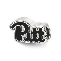 Fancy Bead White Sterling Silver Pennsylvania NCAA University Of Pittsburgh 9.8 mm 15.9