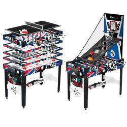 """MD Sports 48"""" 12 In 1 Combo Game Table, Air Hockey, Knock Hockey, Foosball, Basketball, Table Tennis, Gag Toss, Archery, Chess, Checkers, Backgammon, Dice, Quick & Easy Transform"""