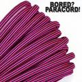Bored Paracord Brand 550 lb Type III Paracord - Neon Pink With Black Stripes 10 Feet