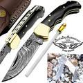 Pocket Knife 6.5'' Buffalo Horn Damascus Steel Knife Brass Bloster Back Lock Folding Knife + Real Horn Handel Knife + Sharpening Rod Pocket Knives 100% Prime Quality+ Camel Bone Small Pocket Knife