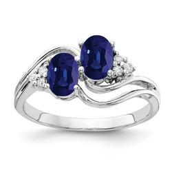 Primal Gold 14 Karat White Gold 6x4mm Oval Sapphire and Diamond ring