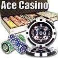 Brybelly 500 Count Ace Casino Poker Set - 14 Gram Clay Composite Chips with Aluminum Case, Playing Cards, & Dealer Button for Texas Hold'em, Blackjack, & Casino Games