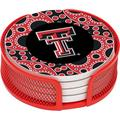 Stoneware Drink Coaster Set with Holder Included, Texas Tech University Circles