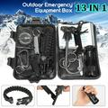 13 in 1 SOS Survival Kit Multi-Purpose Emergency Equipment Supplies First Aid Survival Gear Tool Kits Set Package Box for Outdoor Travel Hiking Camping Biking Climbing