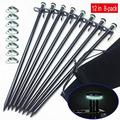Darkeagle Tent Stakes Heavy Duty 12Inch8Inch Forged Steel Unbent Tent Pegs Ideal Camping Stakes For Rockyhard Places (Fluorescent Rubber Circle And Rope Tensioner Included)(8Pack) (12In 8Pack)