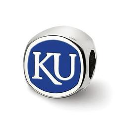 Fancy Bead White Sterling Silver Kansas NCAA University Of 11.5 mm 10.9