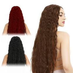 Willstar 1Set Female Fashion Curly Wavy Long Hair Wig Black Wig Winered Wig Cosplay Wig Brown Wavy Wig