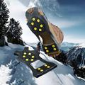Fymall 10 Studs Universal Anti-Skid Snow Ice Climbing Shoe Spike Grips Crampons Cleats Overshoes Traction Cleats Grippers Non-Slip Over Shoe