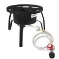 Gas One High Pressure 1-Burner Propane Outdoor Cooker Burner Stove with Adjustable 0-20PSI Regulator and Steel Braided Hose