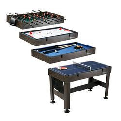 """MD Sports 54"""" 4 in 1 Combo Game Table, Foosball, Slide Hockey, Table Tennis, Pool, Accessories Included, Brown"""