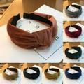 Women Lovely Headband Bowknot Cross Knot Wide Solid Hairband Boho Ladies Headband Accessory
