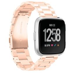 Mignova Fitbit Versa Watch Bands Metal, Stainless Steel Bracelet Accessory Replacement Strap Wristband for Fitbit Versa /Versa Lite/Versa Special edition Smart watch(Rose Gold)