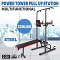 VEVOR Power Towers Adjustable Height Multistation Power Tower 330 440LBS Dip Bar and Pull Up Station Home Fitness Workout Station for Indoor Home Fitness (363 with Bench Press)