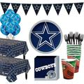 Party City Super Football Party Supplies for 36 Guests, Include Plates, Napkins, Table Covers, and Balloons