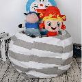 "LNKOO 24"" Stuffed Animal Bean Bag Chair,Stuffed Animal Storage or Sack,Stuffed Storage Organization Stuffed Animal Premium Cotton Canvas Organizer Box for Kids Toys Household Supplies-Gray"