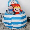 "LNKOO 24"" Stuffed Animal Bean Bag Chair,Stuffed Animal Storage or Sack,Stuffed Storage Organization Stuffed Animal Premium Cotton Canvas Organizer Box for Kids Toys Household Supplies-Blue"