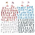 200-Piece Military Figures Set - Toy Soldiers Army in 4 Colors, World War II Minifigures Play Set with 4 Flags, America, England, Germany and Japan