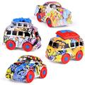 3.62 Inch Friction Powered Cars, Graffiti Diecast Cars, Push and Go Cars for Goodie Bag Toys, Kids Party Favors Including Mini Bus, Station Wagon, Muscle Car, Passenger Car F-288