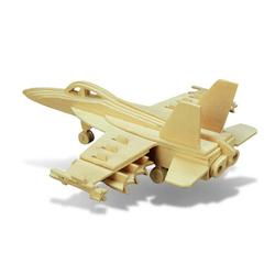 Puzzled F18 Hornet Aircraft 3D Woodcraft Construction Puzzle Kit, Educational Brain Booster Army Warcraft Plane Interlocking Model 47 Piece Paintable Pre-Cut Wooden Puzzles Aircraft Themed Toy & Games