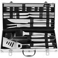 POLIGO 24PCS BBQ Grill Accessories Stainless Steel BBQ Tools Grilling Tools Set with Case for Camping, Barbecue, Kitchen, Backyard Grill Utensils Set Kit Ideal Father's Day Birthday Gifts for Dad Men