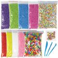 Foam Balls for DIY Slime, 11 Packs Styrofoam Decorative Slime Beads with Fruit Candy Slices and Tools for Homemade Slime Making, Arts & Crafts, Nail Art, Back to School Supplies