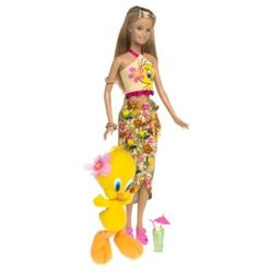 Barbie Year 2003 Looney Tunes Back in Action Series 12 Inch Doll Set - Barbie Loves Tweety Piolin Piu-Piu with Barbie Doll in Beach Outfit Holding a Cocktail Glass Plus Tweety Character 5 Inch Plush