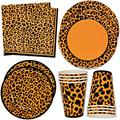 """Leopard Print Party Supplies Tableware Set 24 9"""" Plates 24 7"""" Plate 24 9 Oz. Cups 50 Lunch Napkins for Cheetah Jungle Safari Animal Adventure Wild Zoo Pals Baby Shower Birthday Disposable Paper Goods"""