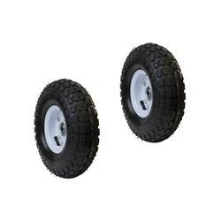 """ALEKO 2WAP10 Pneumatic Replacement Wheels for Wheelbarrow, 10"""" Air Filled Turf Tires for Hand Trucks, Lawn Carts, Set of 2, Black Tire, White Rim"""