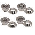 Universal Chrome Flange/Tapered Locking Lug Nut Set 10mm x 1.25mm Thread Pitch (4 Pack) for Kymco MXU 300 2006-2014