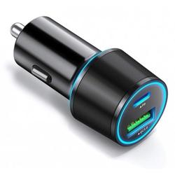 36W Quick Car Charger 2-Port USB Type-C PD Power Adapter B5Y for CAT S48c - Coolpad Illumina, Legacy, REVVL Plus, S - Dell Venue 8 Pro - Doro 824 SmartEasy - Essential Phone (PH-1)