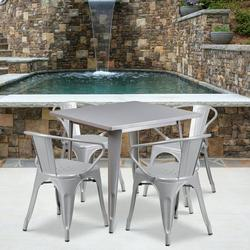 """Flash Furniture Commercial Grade 31.5"""" Square Silver Metal Indoor-Outdoor Table Set with 4 Arm Chairs [ET-CT002-4-70-SIL-GG]"""