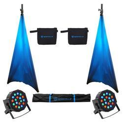 (2) Rockville Tripod DJ PA Speaker Stands+Carry Case+Scrims+(2) RGB Par Lights