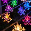 Snowflake String Lights, 10m/33ft 100 LED Waterproof Lights, 2 Lighting Modes, Battery Powered Fairy Light for Halloween Christmas Weddings Birthday Family School Parties Décor - Multi Color
